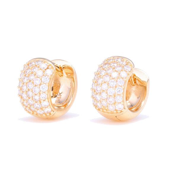 Closeup photo of Small Wide Diamond Hoop Earrings