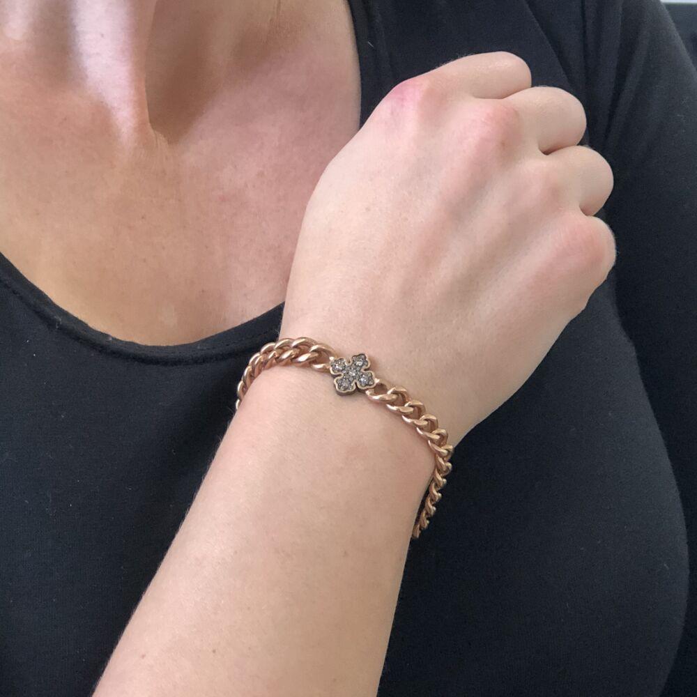 Vintage Rose Gold Chain with a Diamond Cross Bracelet