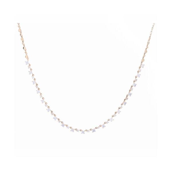 Closeup photo of Diamond Choker Layering Necklace 14k gold with Diamonds