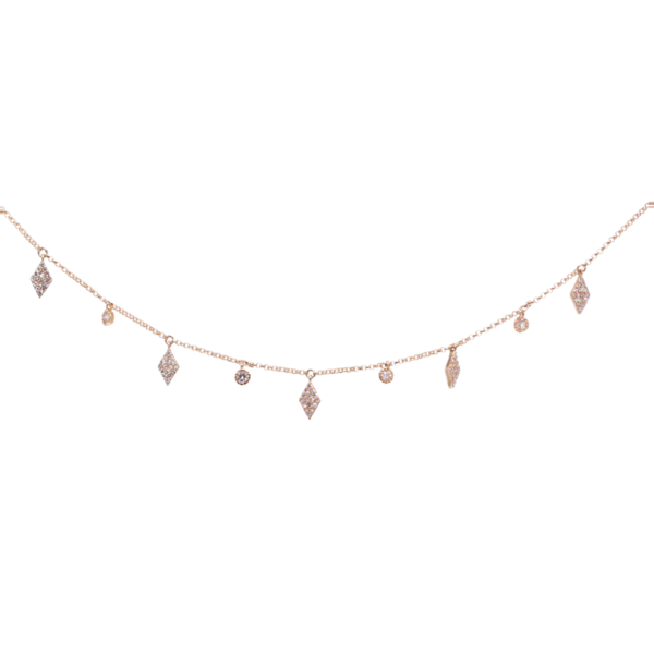 Closeup photo of Fringe 14k Yellow gold chain with diamond shaped charms and diamonds
