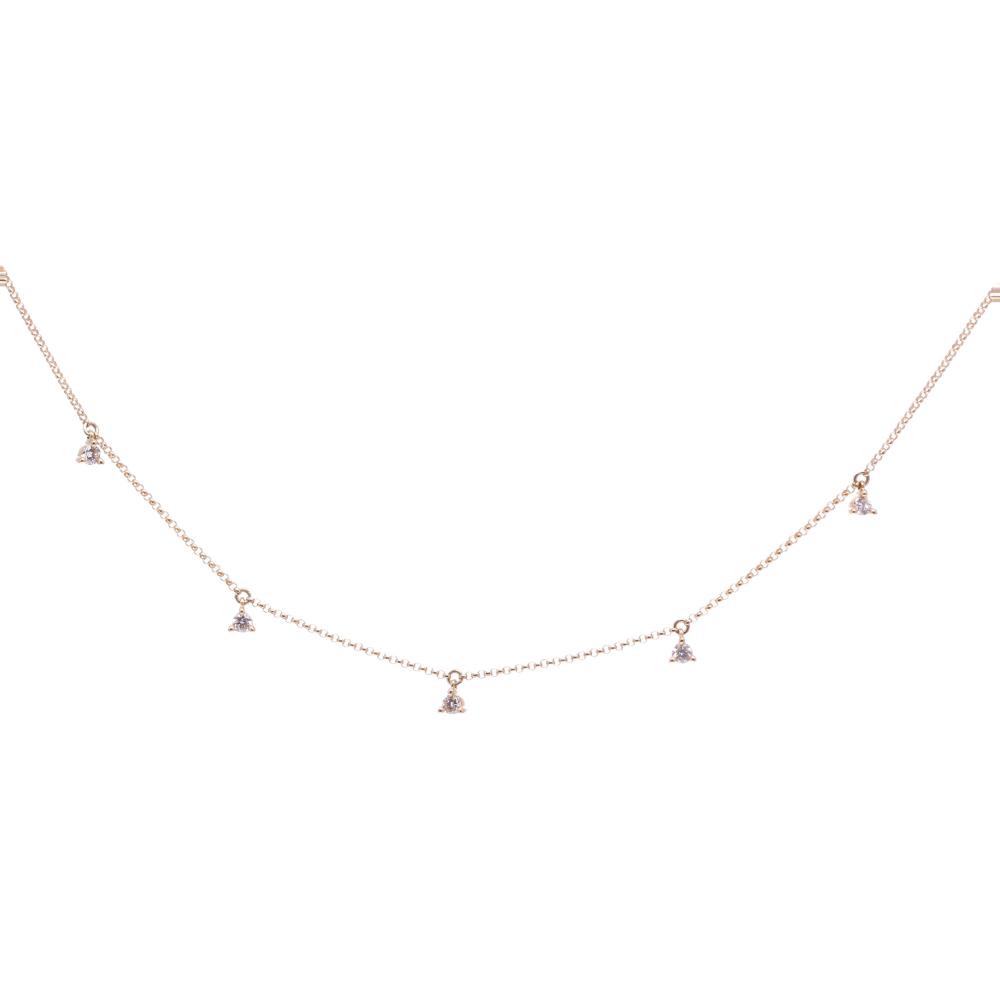 14k yellow gold diamond dangle station chain .24ct dia