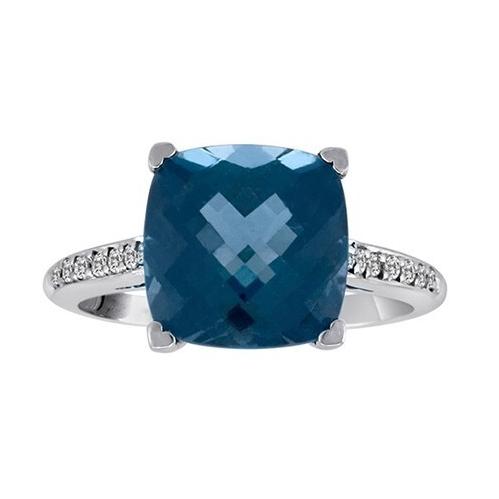 Closeup photo of 18k London Blue Topaz Ring with Diamonds