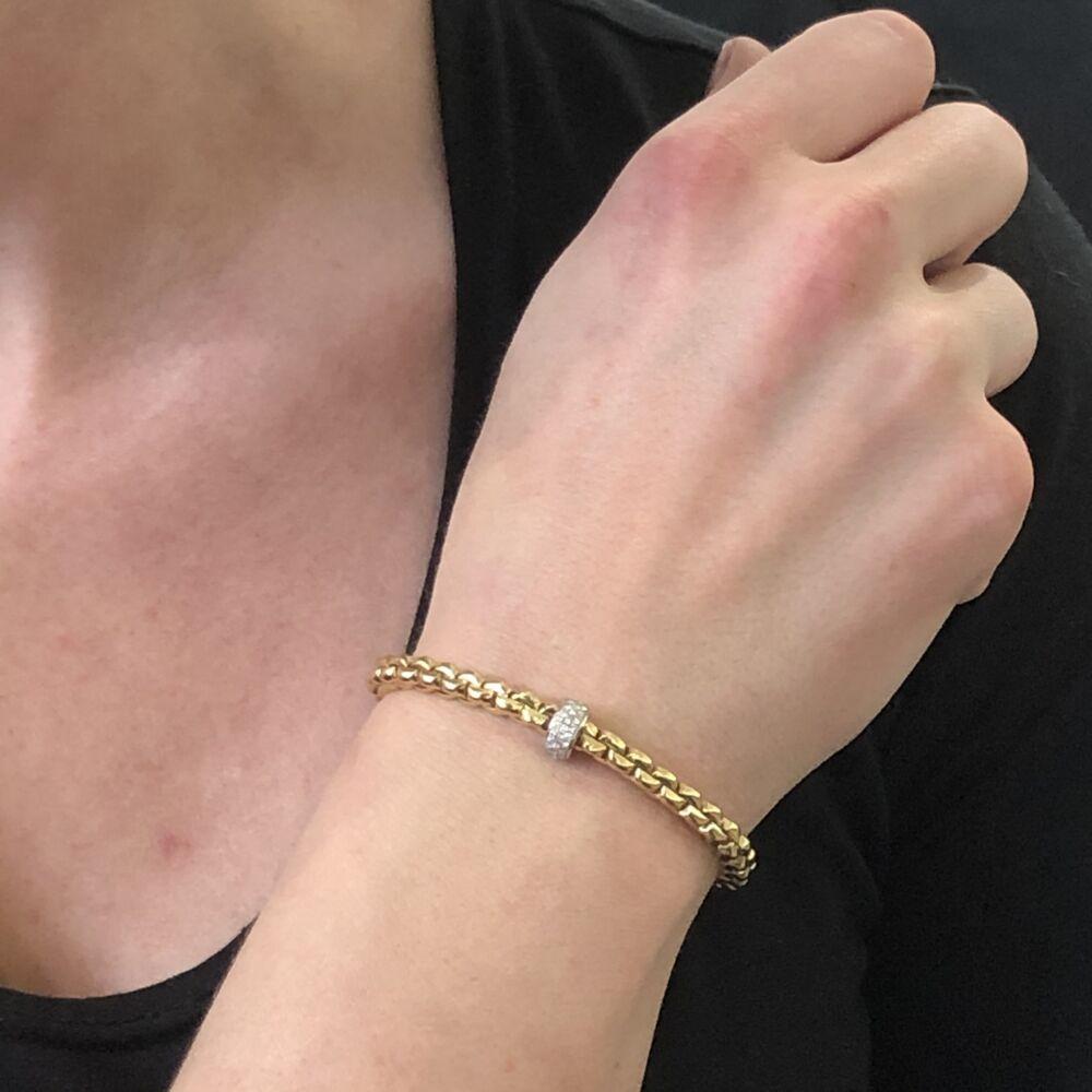 Flex'it Bracelet with Pave Diamond Rondel