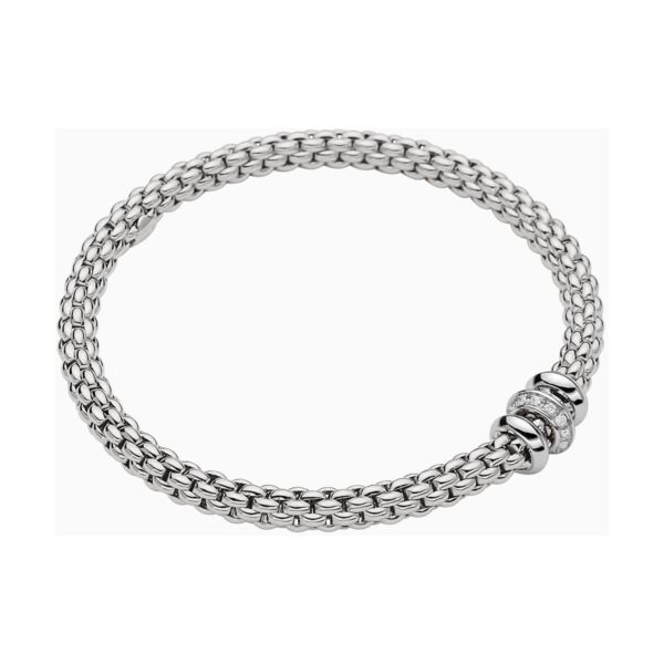 Closeup photo of Flex'it 18k Gold Bracelet in White Gold with Diamonds size X-Large (19 cm)