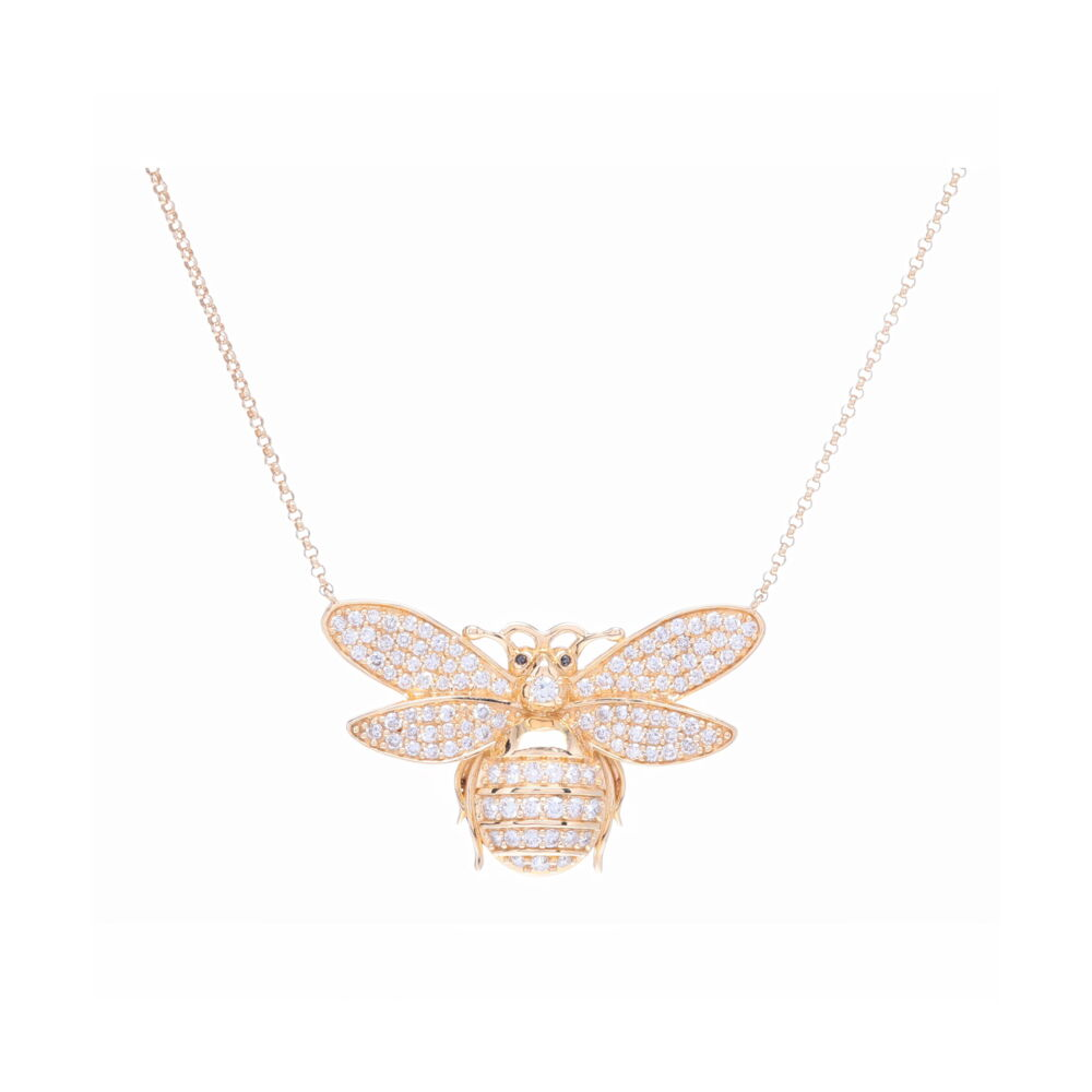 Bee Pendant Layering Necklace 14k Yellow Gold and Diamond
