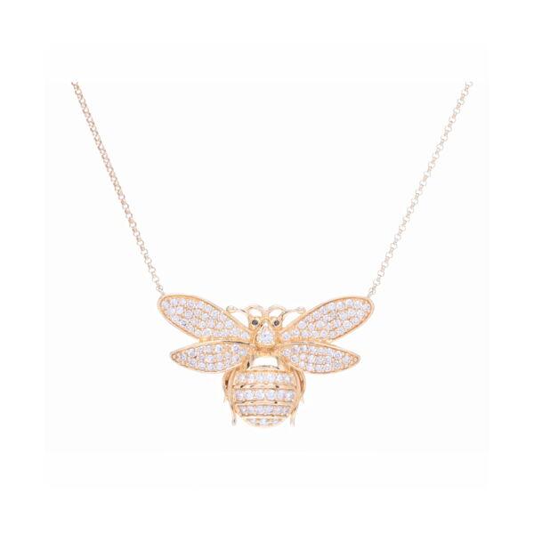 Closeup photo of Bee Pendant Layering Necklace 14k Yellow Gold and Diamond