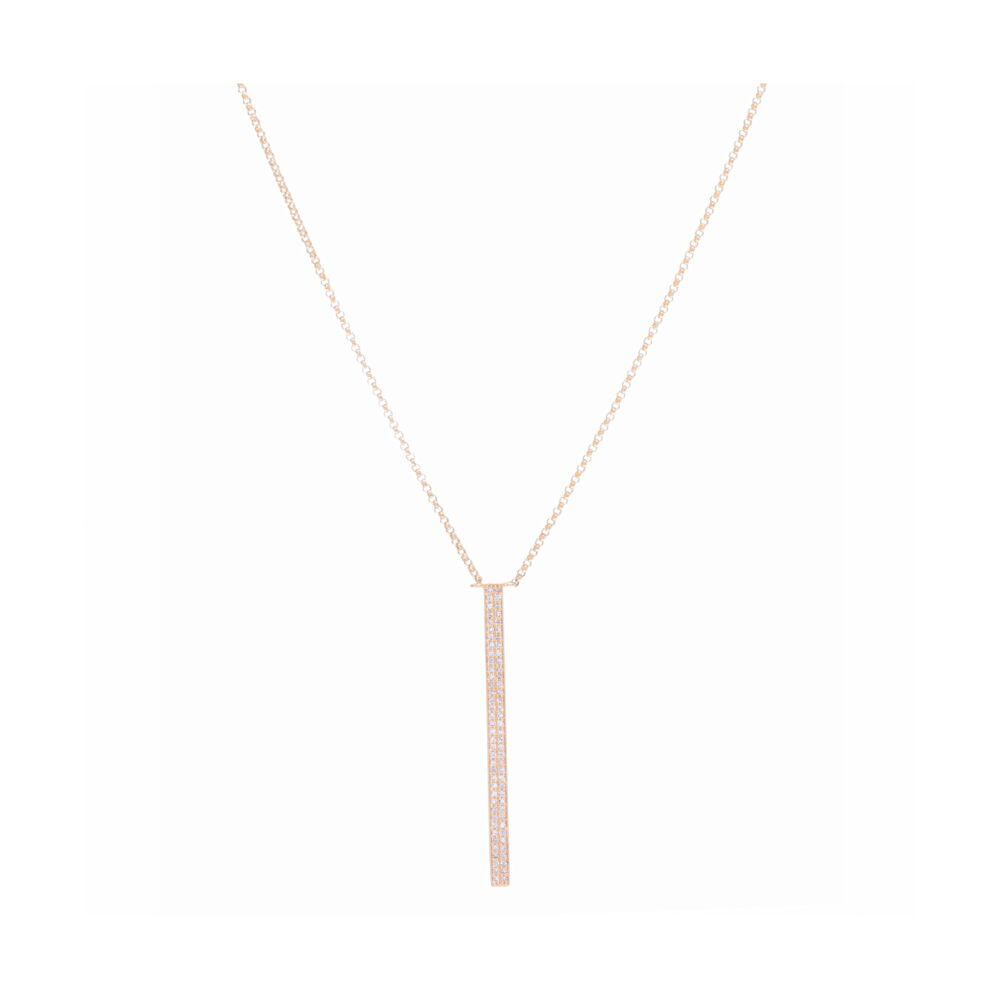 Vertical Bar Layering Necklace 14k Gold with Diamonds