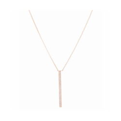 Closeup photo of Yellow Gold Vertical Bar Layering Necklace