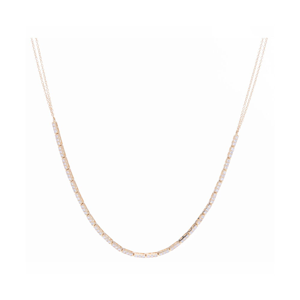 Small 3 Diamond Bar Choker with Diamonds. 14K Yellow Gold