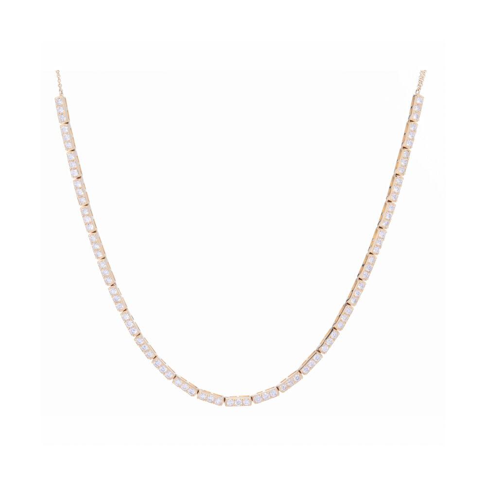 Large 3-Diamond Bar Choker 14K Gold with Diamonds